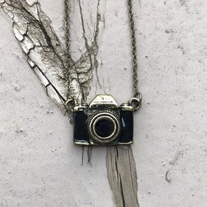 Black and Gold Dainty Camera Necklace ModCloth
